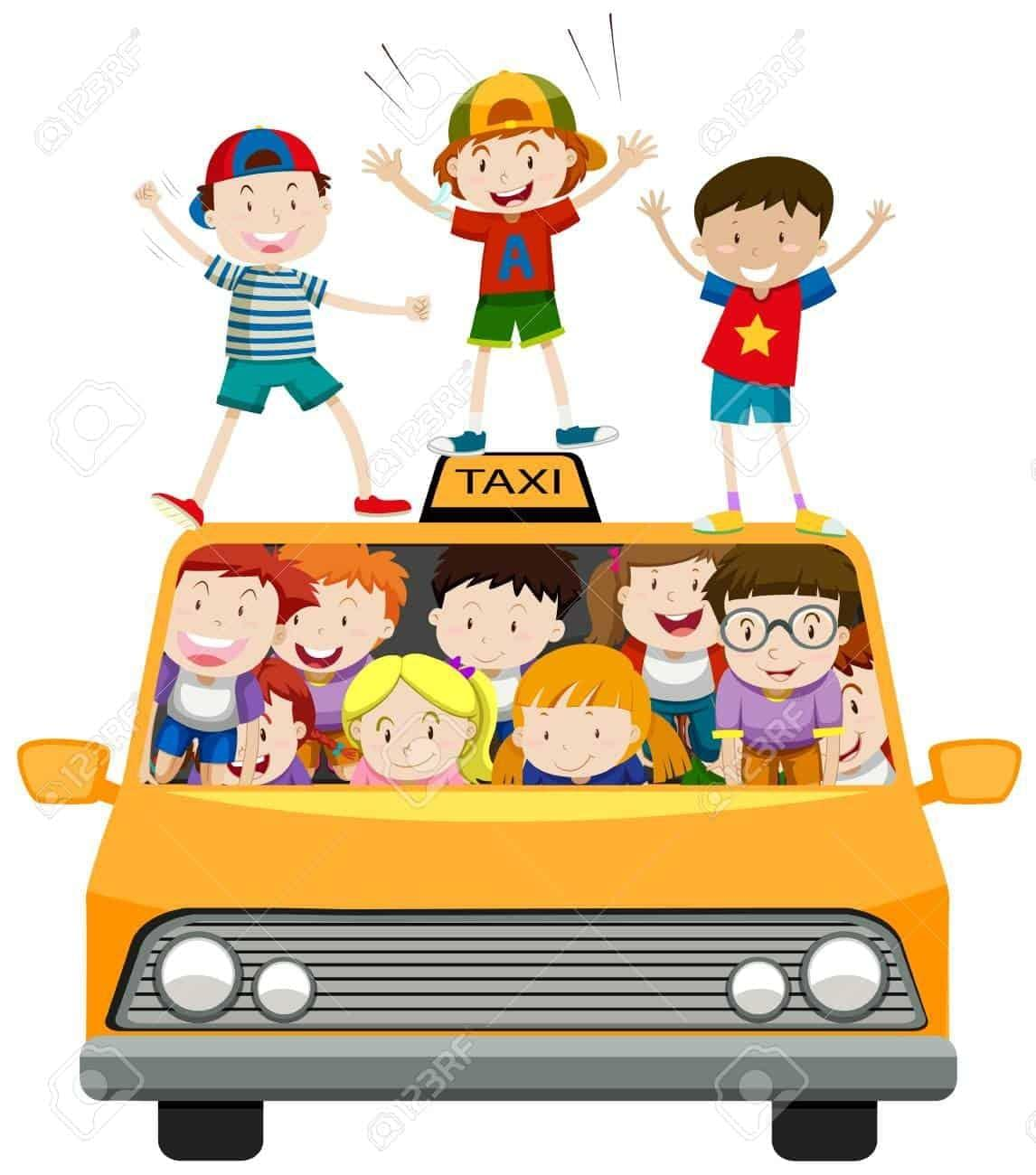 Children riding on taxi illustration