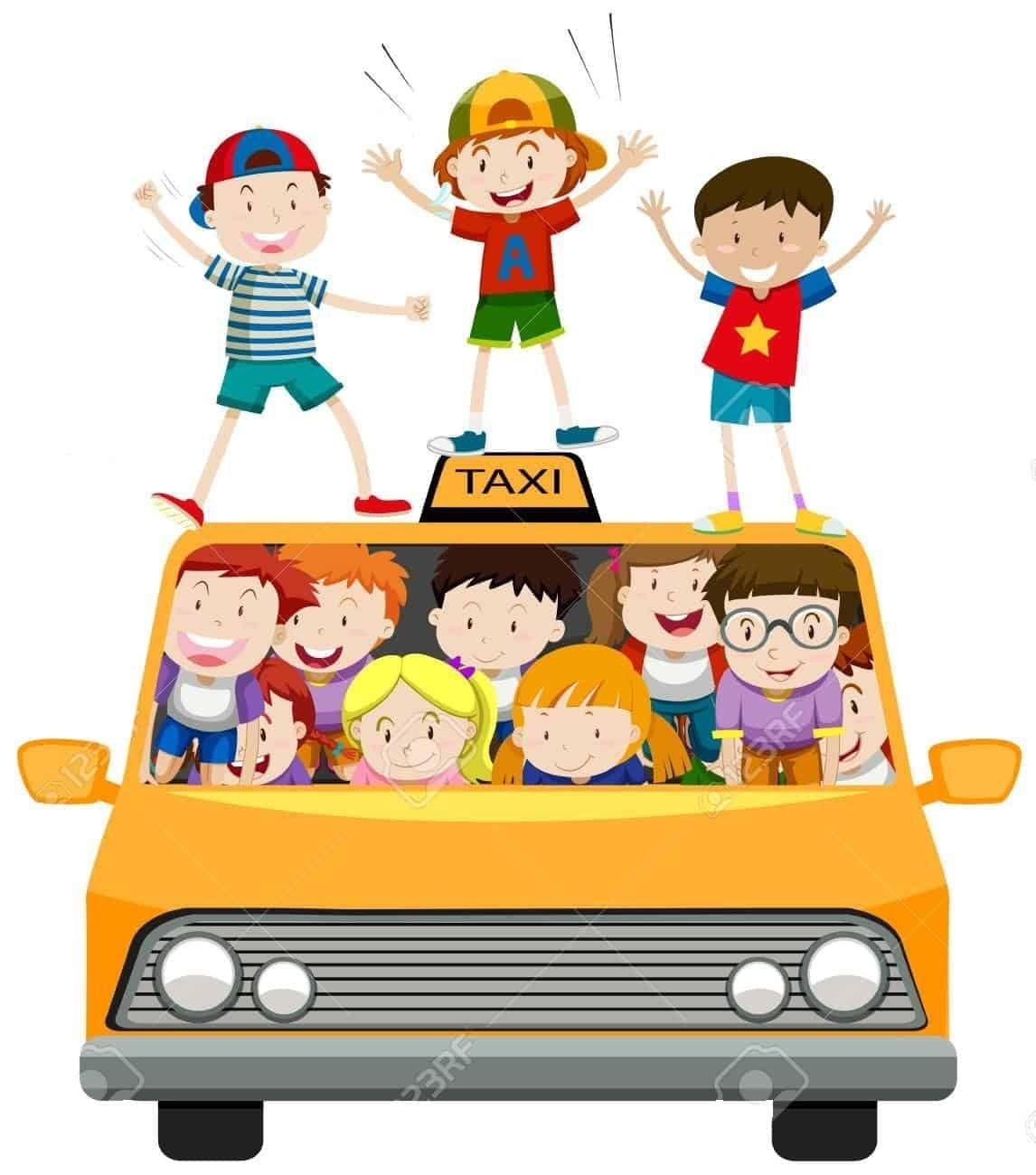 Children riding on taxi